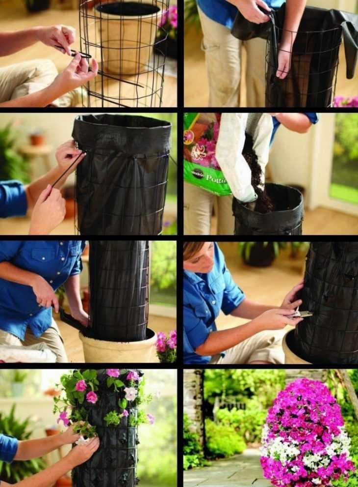 Клумбы своими руками: простые растения и варианты их изготовления из подручных материалов (100 фото)